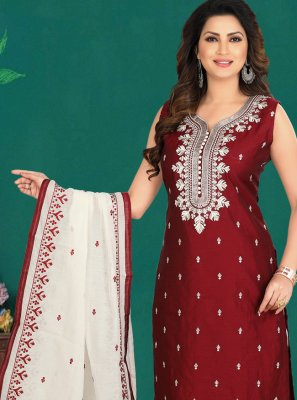 Cotton Embroidered Pant Style Suit in Maroon