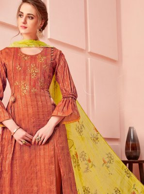 Cotton Embroidered Pant Style Suit in Rust