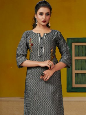 Cotton Embroidered Party Wear Kurti in Grey