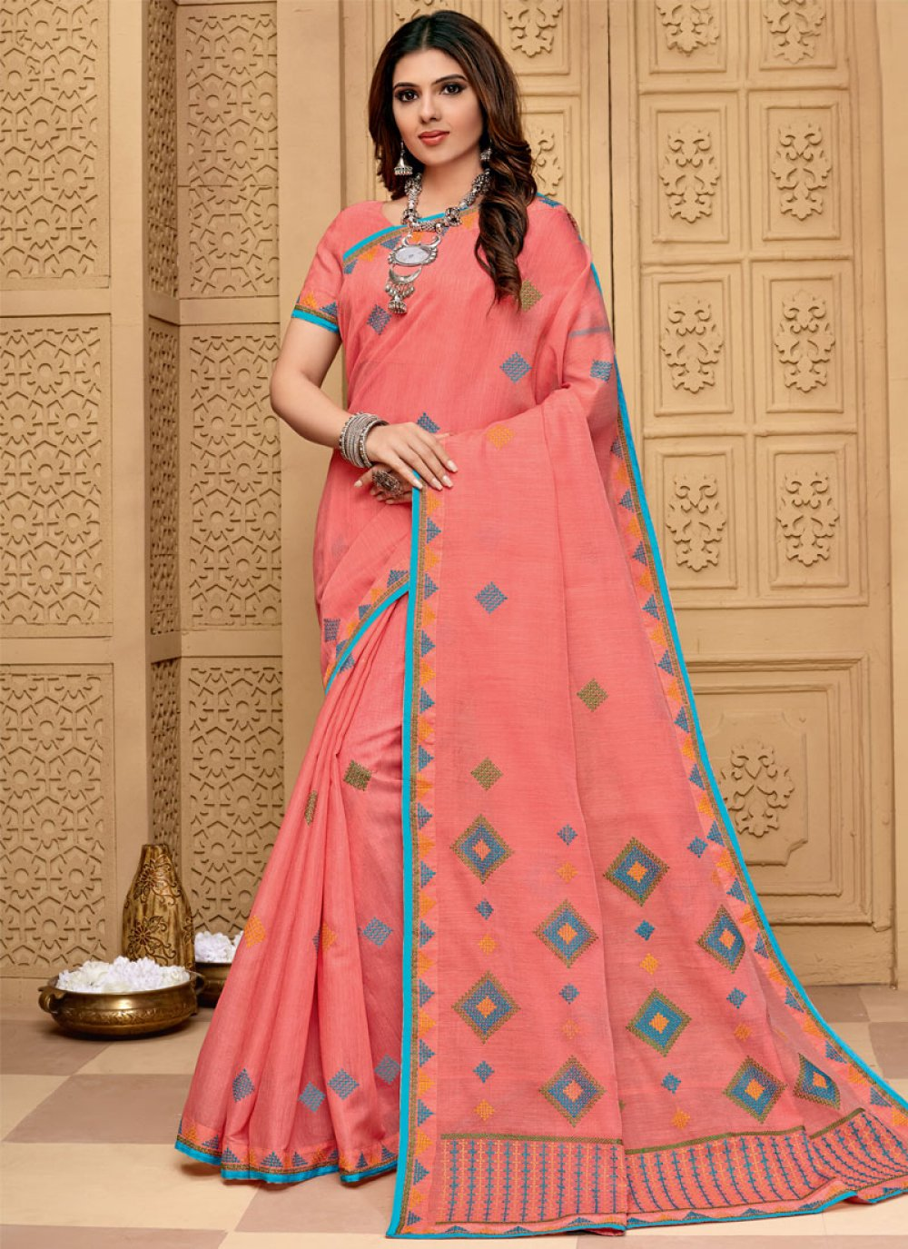 Cotton Embroidered Peach Traditional Saree
