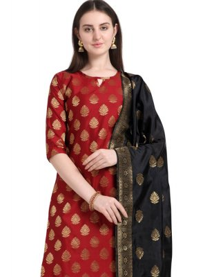 Cotton Embroidered Red Designer Salwar Kameez