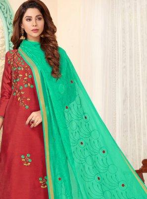 Cotton Embroidered Red Designer Salwar Suit