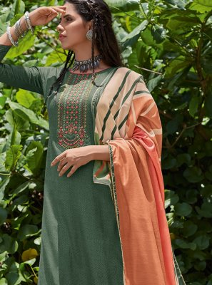 Cotton Embroidered Sea Green Designer Pakistani Salwar Suit