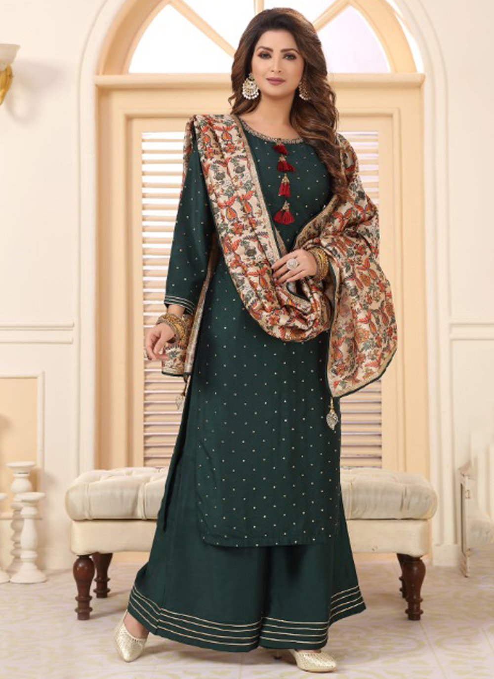 Cotton Embroidered Sea Green Designer Palazzo Suit
