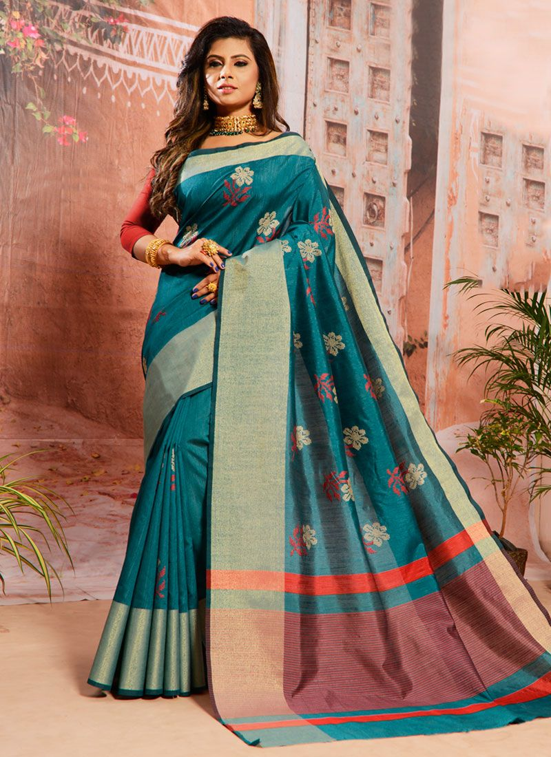 Cotton Embroidered Teal Classic Saree