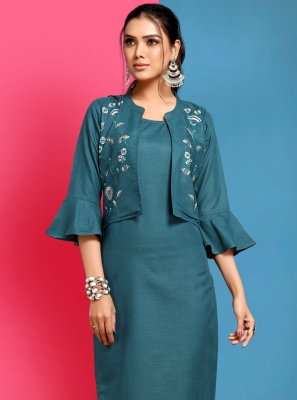 Cotton Embroidered Teal Party Wear Kurti