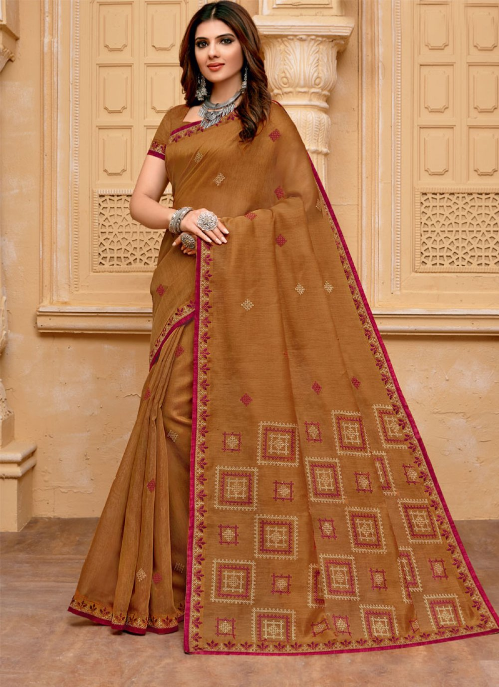 Cotton Embroidered Traditional Saree in Brown