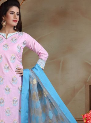 Cotton Embroidered Trendy Churidar Suit in Lavender
