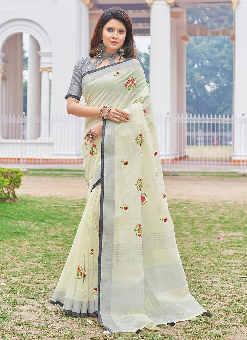 Cotton Embroidered Yellow Casual Saree