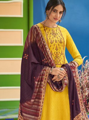 Cotton Embroidered Yellow Salwar Kameez