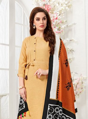 Cotton Fancy Beige Party Wear Kurti