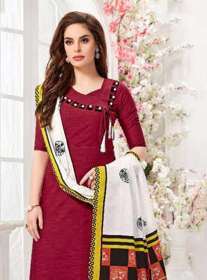Cotton Fancy Party Wear Kurti in Maroon