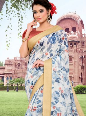 Cotton Floral Print Blue Trendy Saree