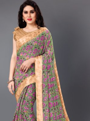 Cotton Floral Print Casual Saree in Multi Colour