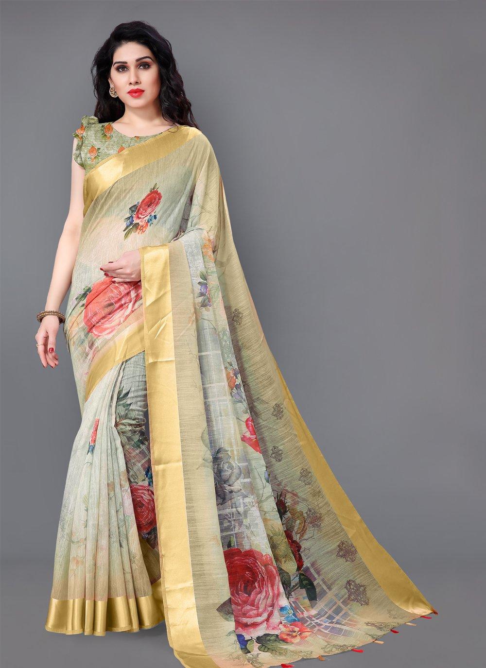Cotton Floral Print Classic Saree