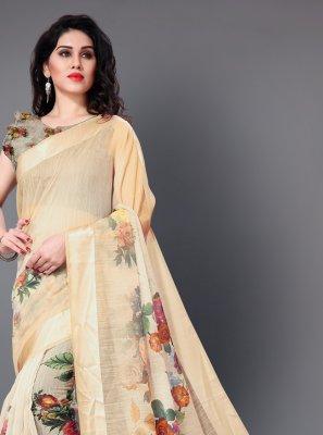 Cotton Floral Print Classic Saree in Cream