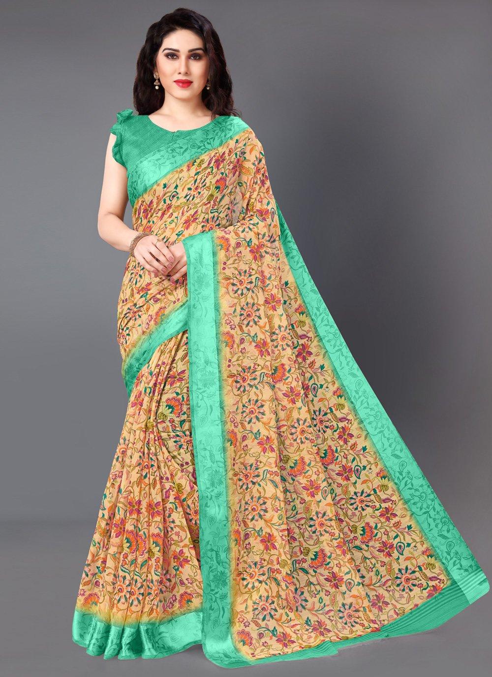 Cotton Floral Print Multi Colour Casual Saree