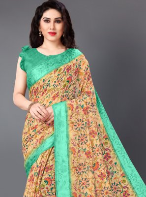 Cotton Floral Print Multi Colour Casual Saree