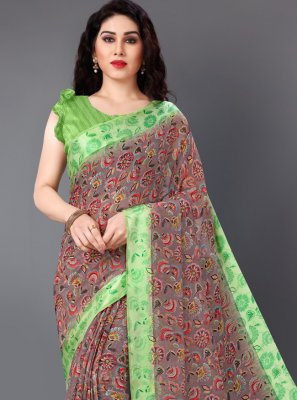 Cotton Floral Print Multi Colour Classic Saree