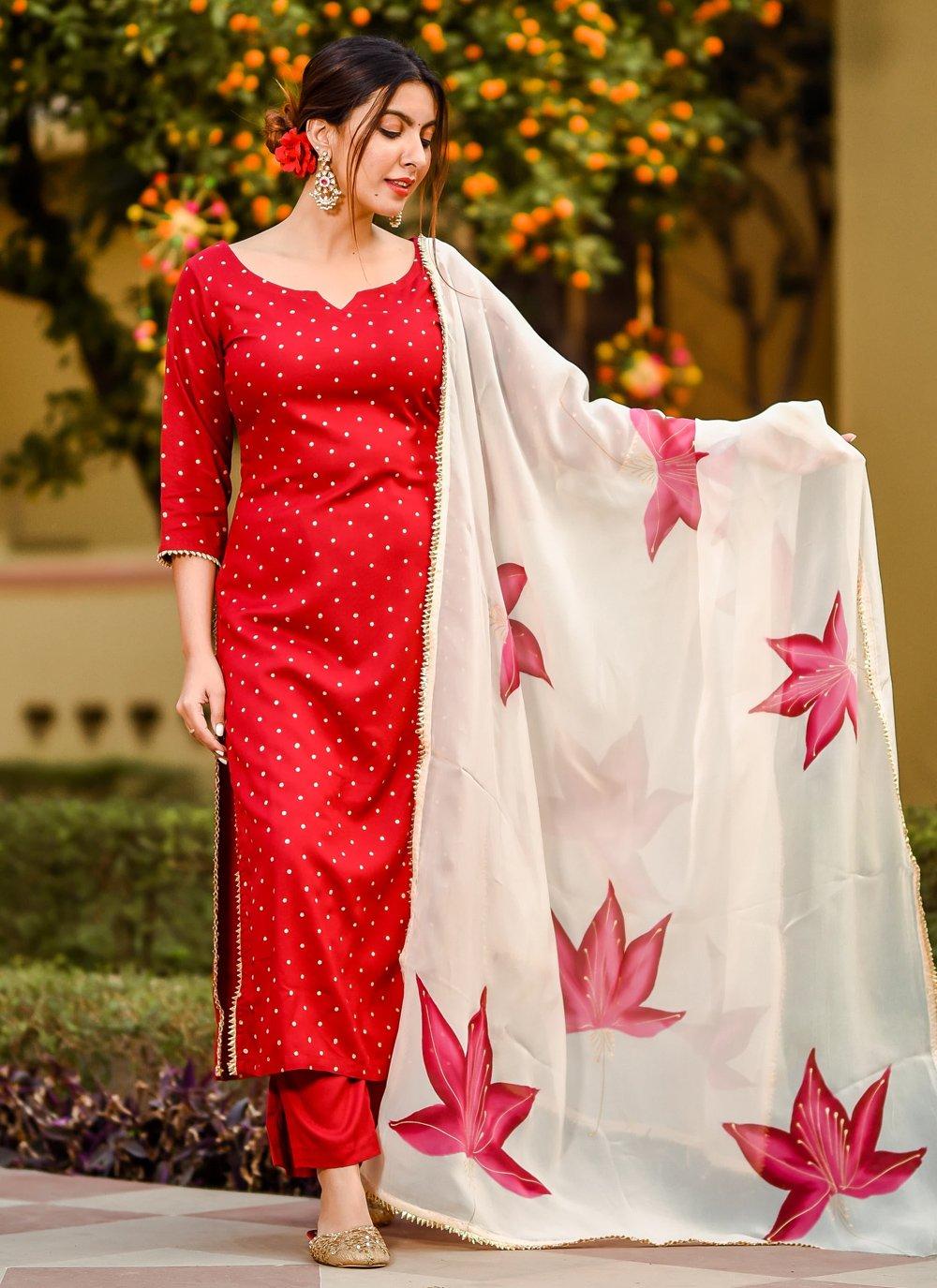 Cotton Floral Print Red Trendy Salwar Suit