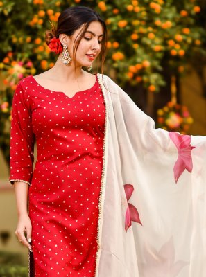 Cotton Floral Print Red Trendy Salwar Suit