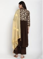 Cotton Foil Print Brown Bollywood Salwar Kameez