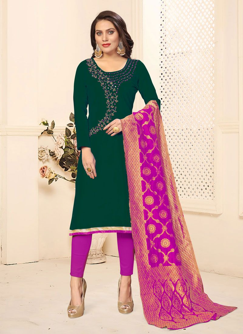 Cotton Green Embroidered Pant Style Suit