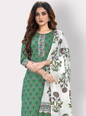 Cotton Green Embroidered Party Wear Kurti