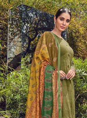 Cotton Green Embroidered Salwar Kameez