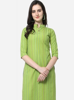 Cotton Green Floral Print Casual Kurti