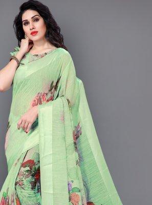 Cotton Green Floral Print Classic Saree
