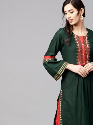 Cotton Green Print Designer Kurti