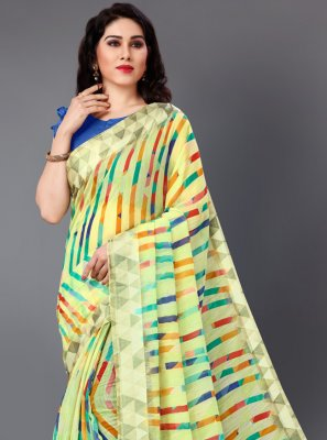 Cotton Green Printed Casual Saree
