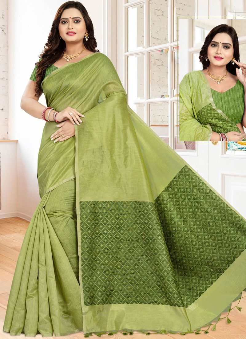 Cotton Green Printed Classic Saree