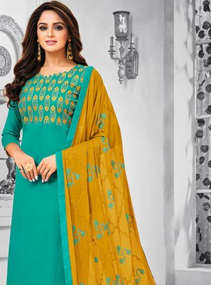 Cotton Green Resham Salwar Kameez