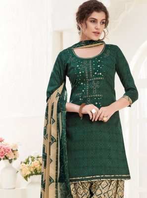 Cotton Green Thread Salwar Kameez