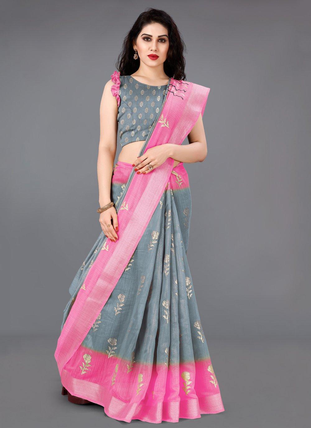 Cotton Grey and Pink Foil Print Classic Saree