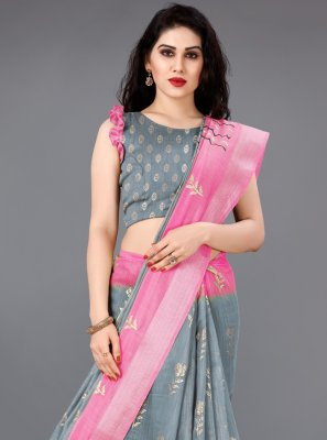 Cotton Grey and Pink Foil Print Classic Saree