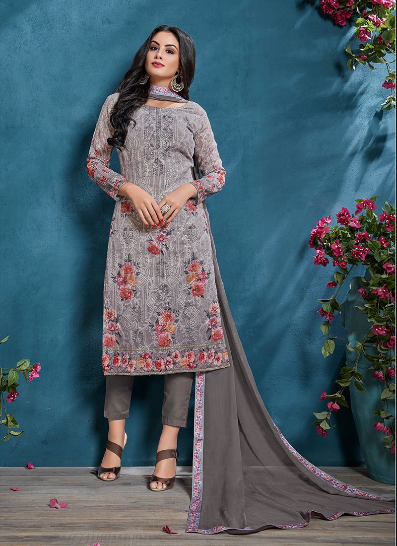 Cotton Grey Churidar Designer Suit