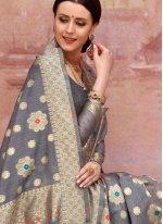 Cotton Grey Designer Traditional Saree