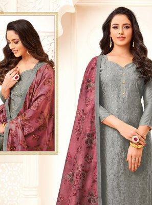 Cotton Grey Embroidered Churidar Salwar Kameez