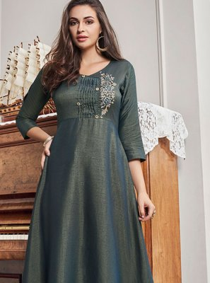Cotton Grey Embroidered Party Wear Kurti