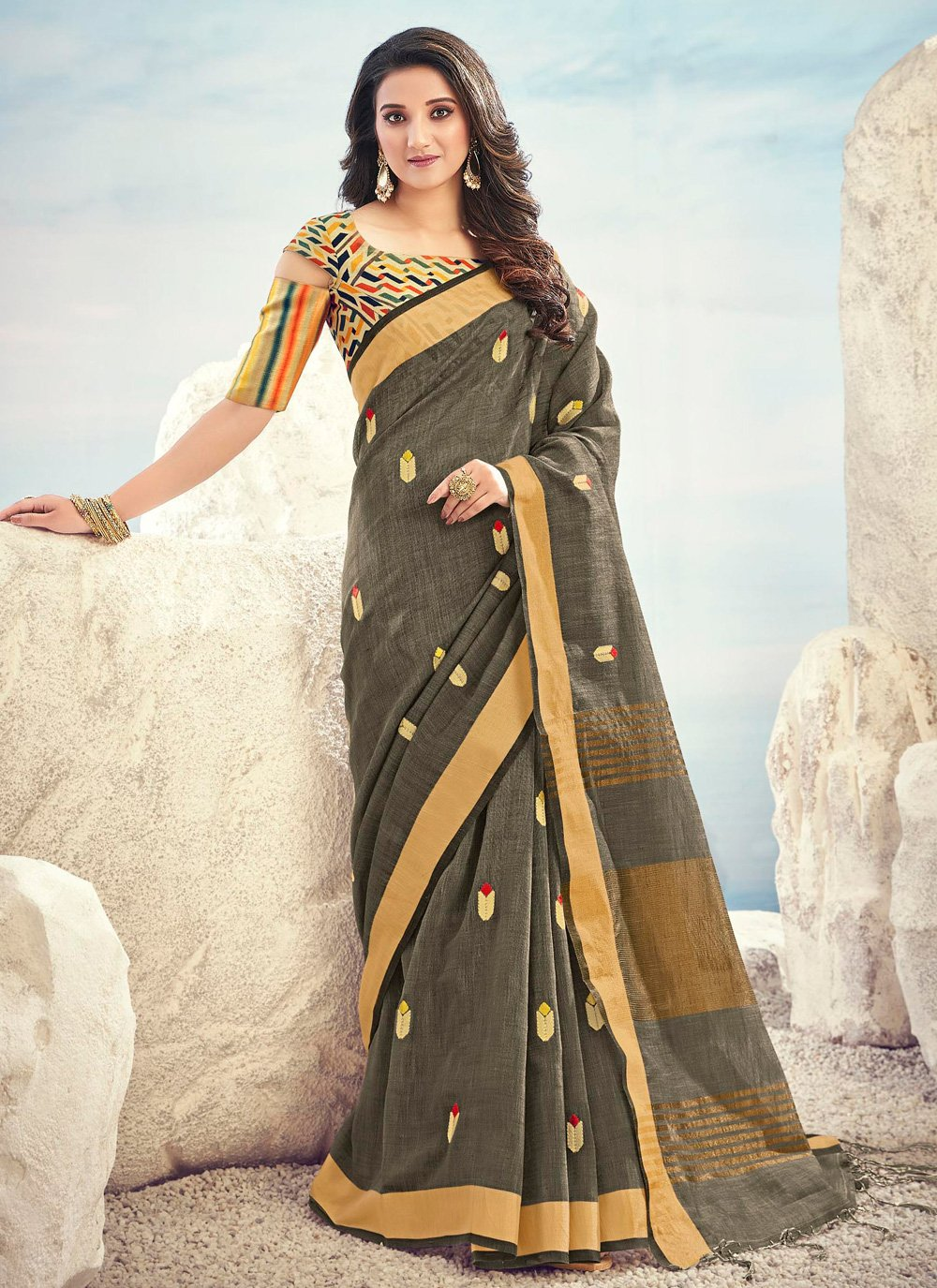 Cotton Grey Embroidered Traditional Saree