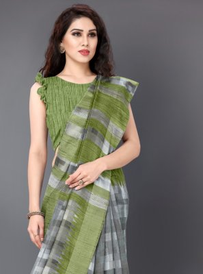 Cotton Grey Printed Classic Saree