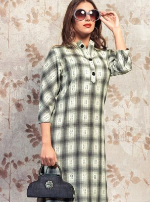 Cotton Grey Printed Party Wear Kurti