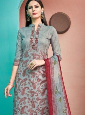 Cotton Grey Thread Work Designer Palazzo Salwar Kameez