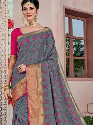 Cotton Grey Traditional Saree