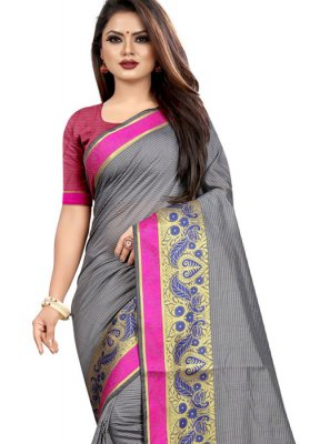 Cotton Grey Woven Traditional Saree