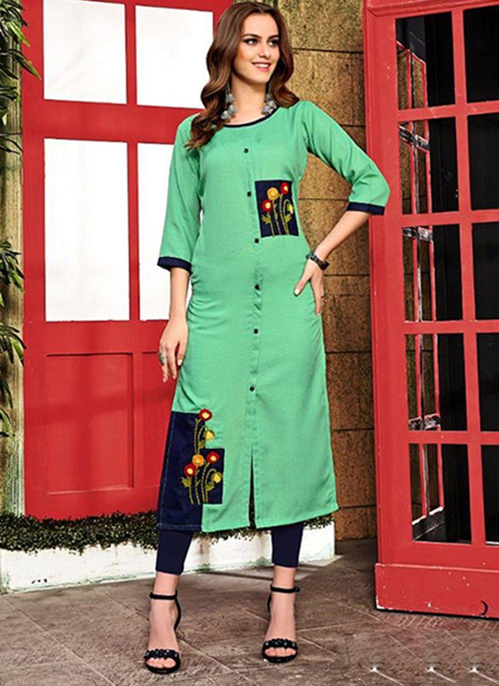 Cotton Handwork Designer Kurti in Aqua Blue