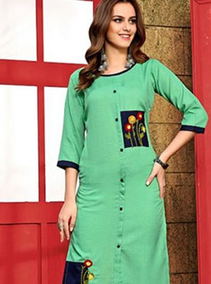 Cotton Handwork Designer Kurti in Aqua Blue